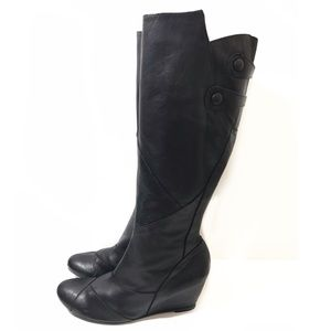 Miz Mooz 11 Black Knee Boots Wedge West Patch